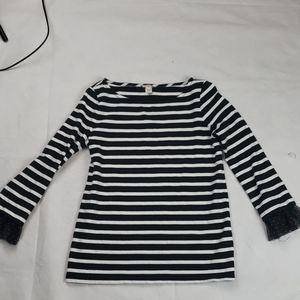 Jcrew  Black white stripe sleeve detail to sleeve